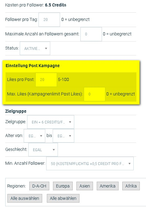 instagram auto post likes einstellungen
